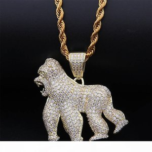Gold Silver Animal Gorilla King Kong Necklace & Pendant With 4mm Rope Chain Iced Out Cubic Zircon Bling Men Hip Hop Jewelry Gifts