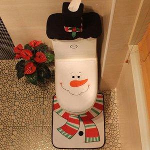 Weihnachten Toilettenabdeckungen Santa Gedruckt Toilettenabdeckungen Teppichtank Abdeckung 3 Sets Mode Weihnachten Toliet Dekorationen Party Geschenk Großhandel EWB1451