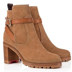 2020 Wholesale Fall Winter Luxury Women Lady Ankle Boots Red Sole Bottom Ankle Boot Marchacroche Booty Round Toe Suede Leather Bottines