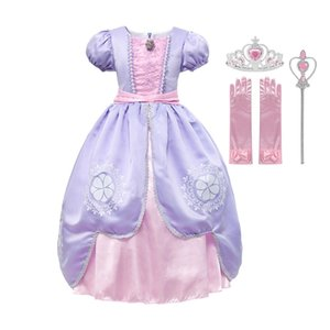 Muababy Girls Sofia одеваются Детские с коротким рукавом Делюкс Sophia Princess Costume Kids Halloween Cosplay Fancy Party Party T200709