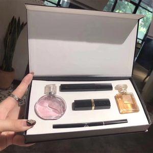 2020 For Christmas gift Parfum Set Hot Sale Perfume Kit Makeup Set Mascara Eyeliner Lipsticks 30ml Perfumes 5 in 1 Cosmetics Set for Women
