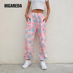 Higareda 2020 donne di marca Pantalon Femme rosa Camouflage Pantaloni felpa maglia Pantaloni allenamento Pantaloni allentato Lady Jogger 1020