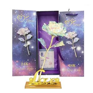 Fleurs décoratives Couronnes Saint-Valentin Cadeau de la Saint-Valentin Romantique Galaxy Rose avec Love Base Stand pour fille Fille Valentine Mariage Party Hom
