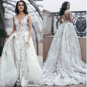 New Overskirt Lace Wedding Dresses Sheer Plunging Neck with 3D Flower Bridal Gowns Illusion Back Tulle Wedding Dress