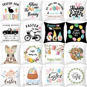 Cojín de cojín de dibujos animados Conejo Pillowcases Sofá de Pascua Lanzamiento blanco Cubiertas Decorativas para la sala de estar Decoración del hogar 45 * 45cm / PC