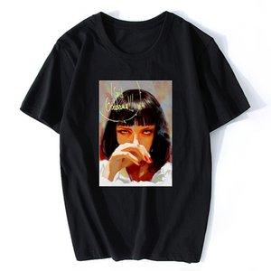 Manica corta film Pulp Fiction Uma Thurman Mia Wallace Quentin Tarantino Tees Top Neri Abbigliamento 3XL Designers T shirt da uomo con cappuccio grafica