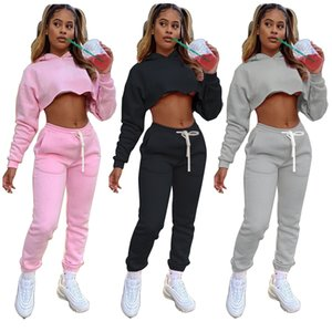 Autumn And Winter Women's Sweater Solid Color Two Piece Set Plush Thickening Leisure Sports Suit DHL