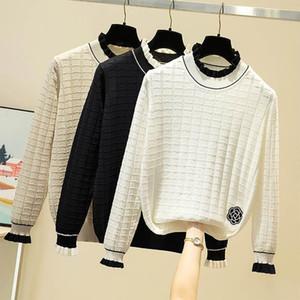 Donne Maglione AOSSVIAO increspature increspato elastico solidi 2020 Autunno Maglione Moda inverno donne magre maglia Pullover
