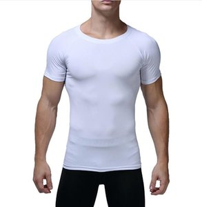 Hot Men's training fitness T-shirt sports tights breathable quick-drying compression running sports short-sleeved T-shirt tees Best quality