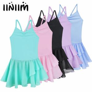 iiniim Kids Ballet Leotard Dress Spaghetti Strap Ballerina Dance Costumes Gymnastics Leotard Tutu Dress for Girls Dance Wear