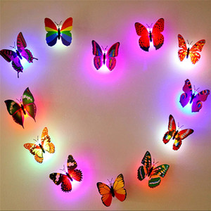 Colorful Changing Butterfly LED Night Light Lamp Home Room wedding Party Desk Wall Decor with suction pad Children Gifts
