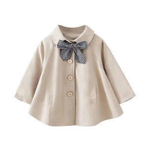 2020 New Style Autumn Baby Girls Trench Clothes Kids Coat Jacket Dress With Neckline Bow Windbreaker Childrens Outwear Outfits