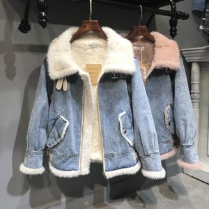 Womens Winter Lamp Wool Liner Faux Fur Coat With Jeans Denim Jacket Turn Dowm Collar Outerwear Coats Basic Jackets Women Cowboy