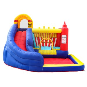 Inflatable Jumper Castle Bouncer Slide Combo Small Bounce House With Slide Ball Pit Jumping House For Kids Fun In Garden Backyard Family Use