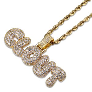 Hip Hop Brass Gold Silver Color Iced Out Micro Pave CZ CLOUT Bubble letter Pendant Necklace Charm For Men Women Gifts