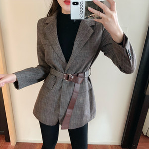 Colorfaith New Autumn Winter Women's Blazers Button With Belt Pockets Formal Jackets Outerwear England Style Tops 201008