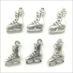 الجملة لوط ريترو القديمة الفضة التزحلق على الجليد أحذية سبائك الزنك المعلقات سحر لصنع المجوهرات DIY سلسلة المفاتيح قلادة 17x13mm