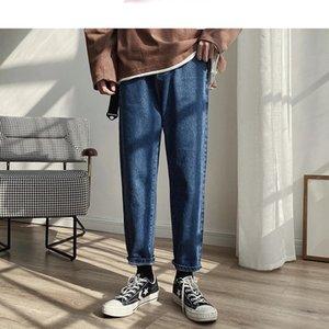 Men Spring Black Korean Colors Jeans 2021 Mens Streetwear Blue Denim Pants Male Fashions Skinny Clothes Plus Size