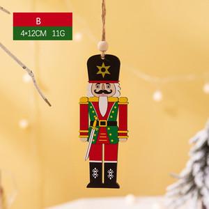 4 Desenler Süsleme Merry Christmas Ağacı Dekorasyon Asma Ahşap Ceviz Asker kolye Noel Ahşap kolye Ceviz Asker GGE1701