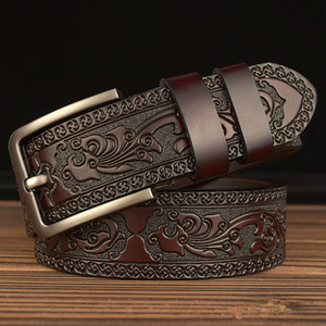 New fashion leisure pin buckle genuine men's personalized carved leather belt for men