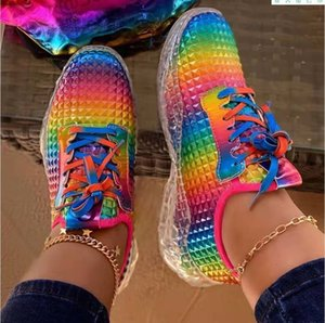 2021 Women Shoes Rainbow Colors Sneaker Wedges Female Women Vulcanize Shoes Breathable Confort Casual Ladies Shoes