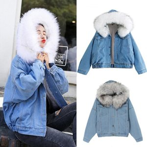 2021 Big Faux Fur Collar Denim Jacket Women Winter Hooded Warm Jean Jacket Student Basic Short Parkas Female Bomber Coat