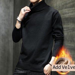Мужские свитера осенью зима чистый хлопок свитер мужчины 2021 Ly прибыл корейская водолазка с длинным рукавом с длинным рукавом плюс бархат повседневная тяга Homme