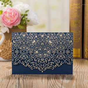100pcs Blue Laser Cut Wedding Invitation Card Lace Flower Greeting Card Custom Envelopes Birthday Wedding Party Favor Decoration1