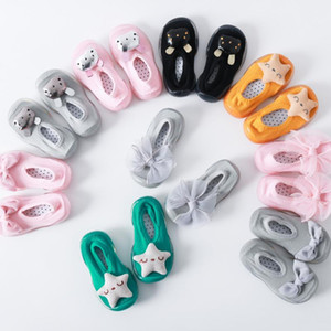 Toddler Baby Girls Kid Soft Sole Rubber Slipper Stocking Star bow boat sock floor rubber soles socks baby toddler shoes#4