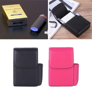 Stainless Steel + PU Leather Cigarette Case with Lighter Pocket Cigarette Packets Organizer Waterproof PVC Bag