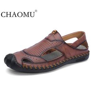 Новые сандалии мужские Baotou летняя дышащая кожаная тенденция диких тапочек мужская вождение пляжная обувь T200420