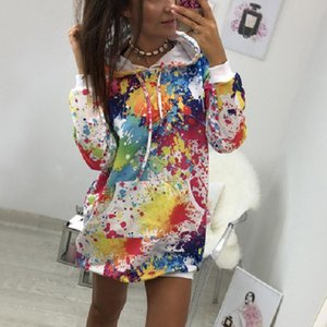 هوديس المرأة Sudadera الأزياء النسائية الملونة التعادل صباغة طباعة البلوز مقنع المعطف بلوزة بلايز Sudadera موهير
