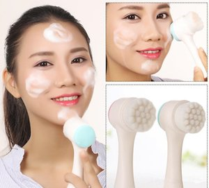 Hot Sale Silicone double-sided soft facial cleansing brush 3D manual Make-up remover to remove blackheads and pores deep cleansing tool