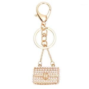 열쇠 고리 크리스탈 라인 석 지갑 키 체인 열쇠 고리 열쇠 고리 체인 가방 매력 진주 펜던트 1