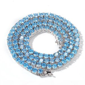 1 Row 4mm Blue Zircon Stone Tennis Link Chain Hip Hop Iced Out Bling Necklace for Women Men