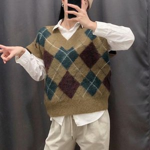 KUMSVAG Femme Automne Argyle laine tricotée Sweater Vest 2020 Vintage V-Neck Femme en vrac Street Fashion Waistcoat Pulls BB2991