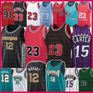 Ja 12 Morant 23 Vince 15 Carter Basketball Jersey Scottie 33 Pippen Dennis 91 Rodman Retro Malha Jersey 2021 New Men's Youth Kids Adult