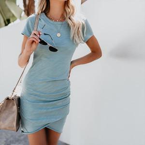 2020 Summer Short Sleeve Bodycon Irregular Dress Large Size Sexy Women Mini Boho Dresses Elegant Female Casual Beach Dress