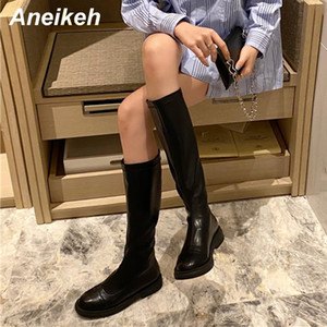 Aneikeh Spring Women Shoes Mid-Calf Riding Equestrian PU Sewing Square heel ZIP Round Toe Solid Black Size 35-39 Fashion New