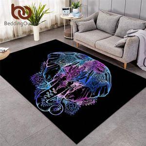 BettwäscheOutlet Elefant Große Teppiche für Wohnzimmer Tier Böhmen Area Teppich Rutschfeste Schwarze Bodenmatte Home Decor Alfombra Duzs #