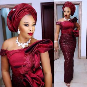 African Plus Size Evening Dresses Off Shoulder Ruffles Lace Appliques Beads Satin And Lace Prom Dress Plus Size Women robes de soirée