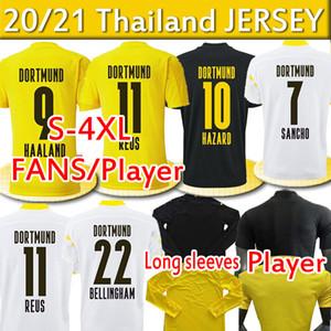 4XL Haaland Reus Hausard 20 21 Вентиляторы Версия Футбол Футбол Джетки Balr Sancho 110th Men Kids Kits Длинные рукава Футбол