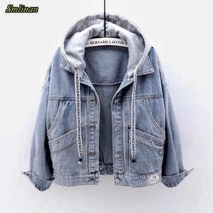 Smlinan Spring Autumn Hooded Denim Jacket Women Fahion Single Breasted Pocket Plus Size Vintage Streetwear Jeans Coat Female 201013