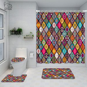 Nyaa Indian Mandala Bagno Set Bohemien Etnico Etnico Floreale impermeabile per doccia Tenda da toletta Tappetino antiscivolo Tappeto Home Decor X1018