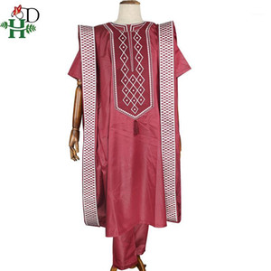 H&D african men embroidered clothes shirt pants agbada suit tops with tassel traditional formal attire boubou africain PH80521