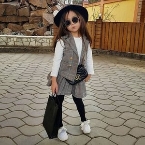 Imcute Autumn Toddler Infant Kids Baby Girls Plaid Coat Vest + Long Sleeve Crop Tops + A-Line Skirt + Formal Fall Outfits 201127