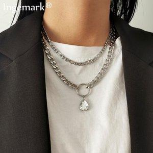 Ketten 2 teile / satz Edelstahl Silber Farbe Halskette für Frauen Punk Vintage Chunky Kette Wassertropfen Kristall Anhänger Nacken Schmuck Geschenke
