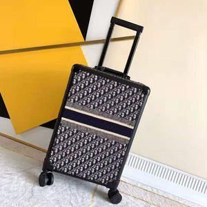 خمر نمط حقيبة سفر الأمتعة أزياء الرجال النساء الجذع حقائب محفظة قضيب مربع سبينر العالمي عجلة القماش الدهالة حقائب