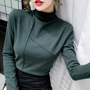 2020 thread thick thread t shirt estilo coreano slim t-shirts tshirts algodón manga larga invierno tops tee shirt femme otoño blanco negro # jl7x
