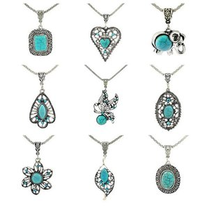 Good A Fashion jewelry personalized turquoise handmade hollow petals bracelet long necklace WFN421 (with chain) mix order 20 pieces
